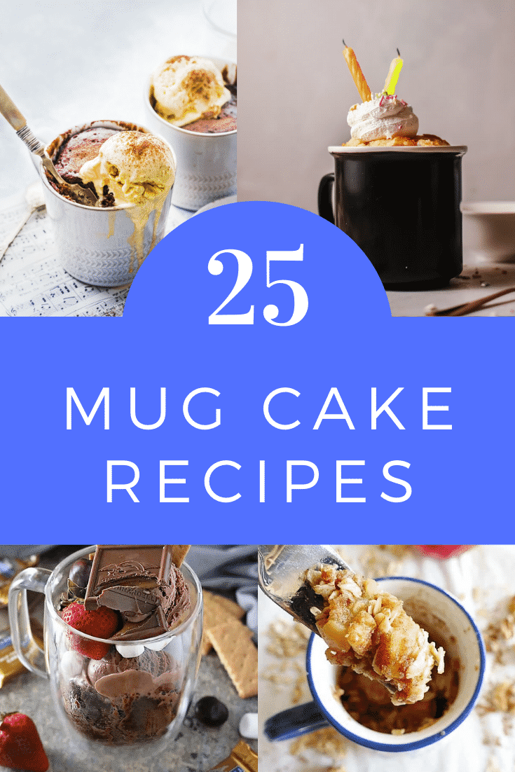 Collage of mug cakes. Caption reads: 25 mug cake recipes