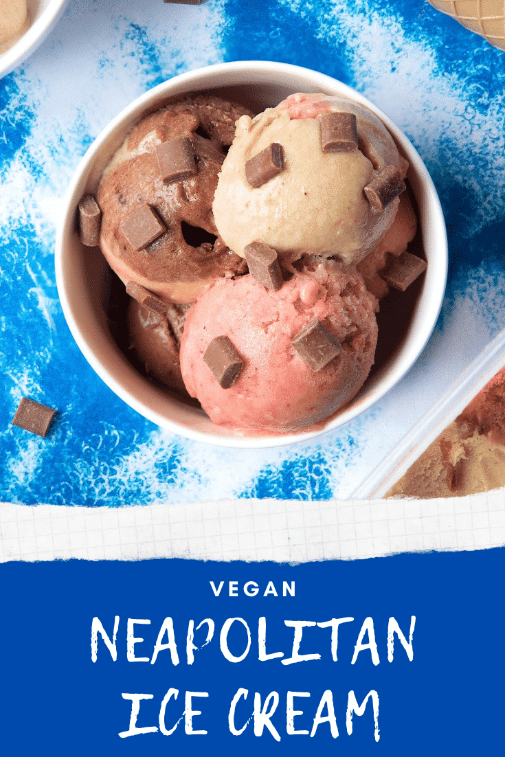 Dairy-free Neapolitan ice cream served in a small white bowl, topped with chocolate chips. Caption reads: Vegan Neapolitan Ice Cream