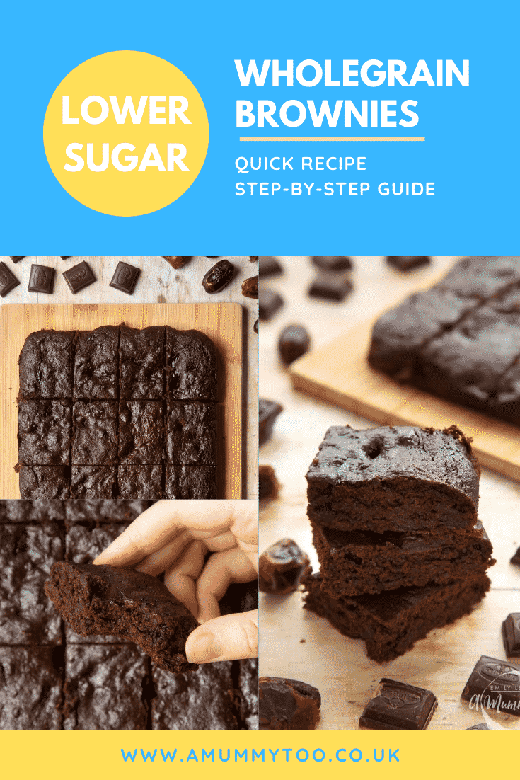 Collage of images of whole grain brownies made with dates and dark chocolate. Caption reads: lower sugar wholegrain brownies quick recipe step-by-step guide