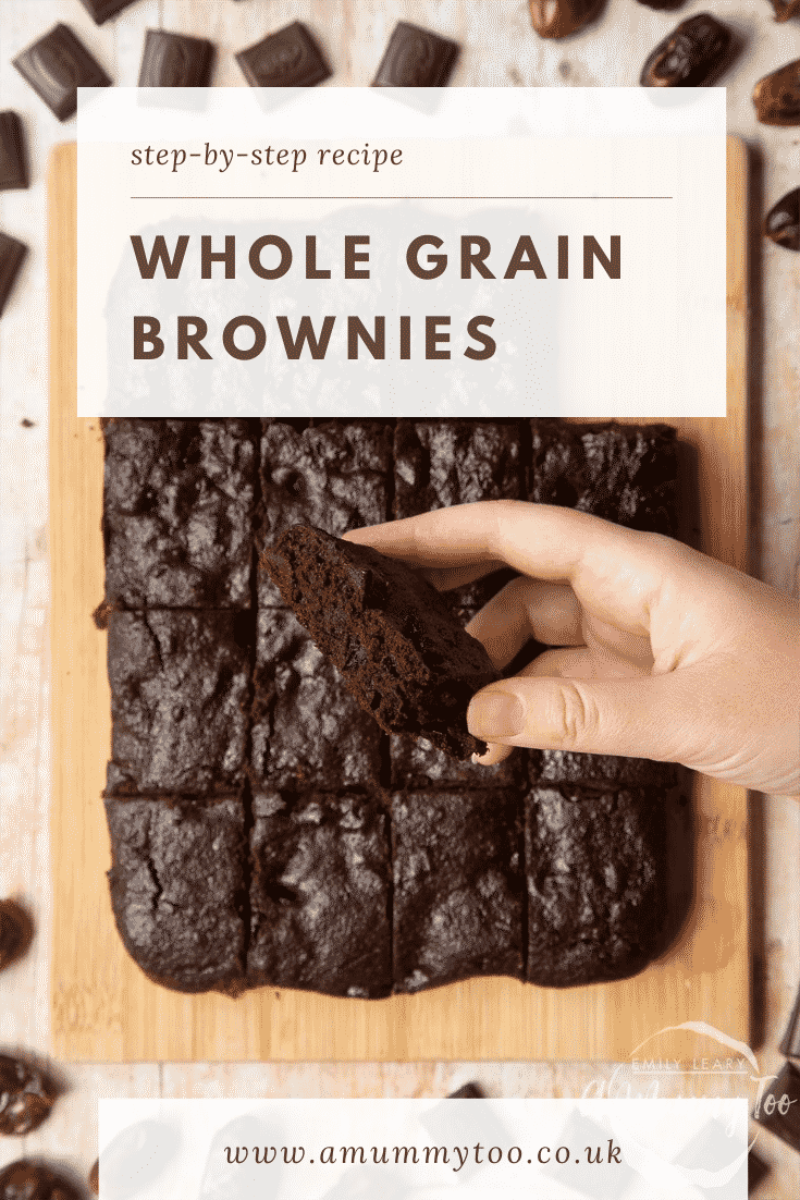 A board of whole grain brownies made with dates and dark chocolate. A hand holds one. Caption reads: step-by-step recipe whole grain brownies