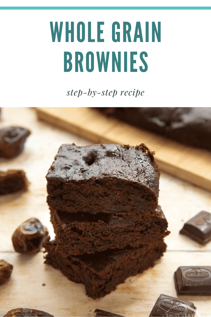 A stack of whole grain brownies made with dates and dark chocolate. Caption reads: whole grain brownies step-by-step recipe