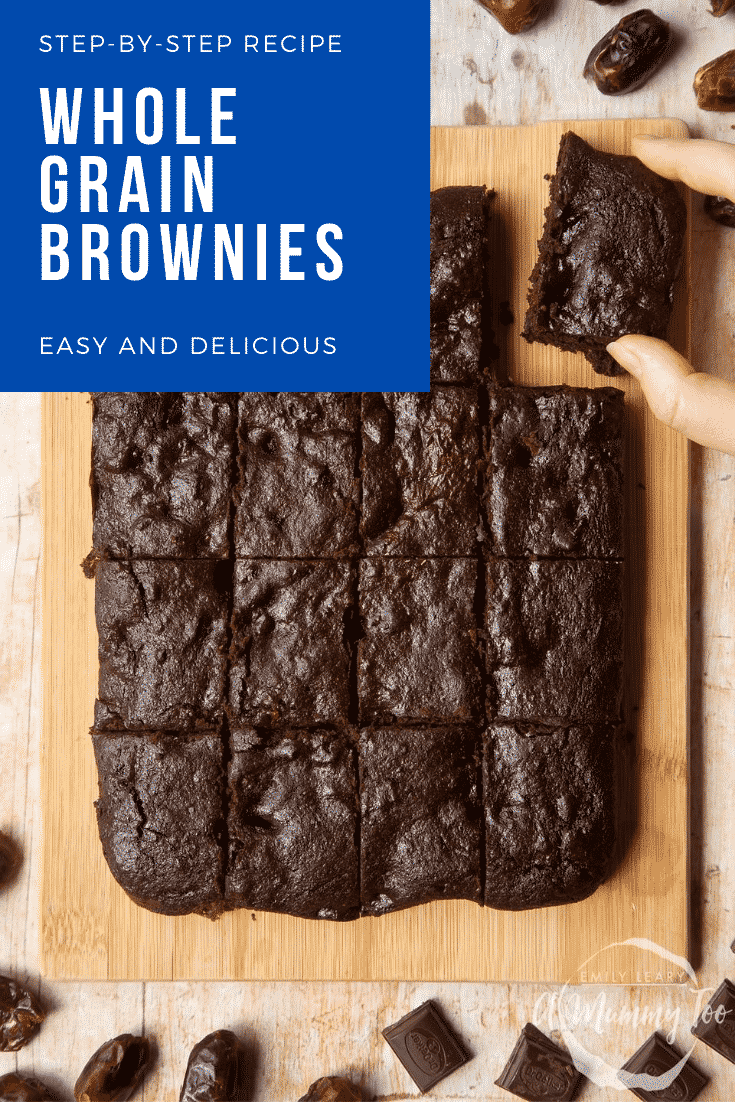 A board of whole grain brownies made with dates and dark chocolate. A hand takes one. Caption reads: step-by-step recipe whole grain brownies easy and delicious