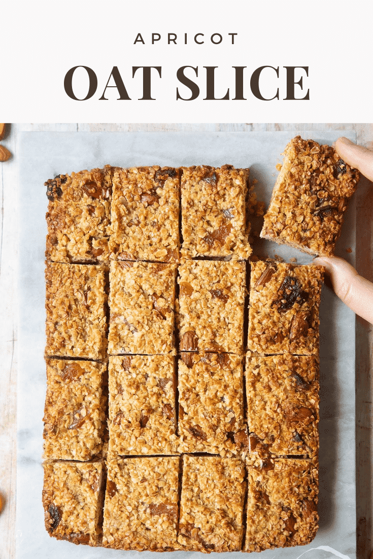 Graphic text STEP-BY-STEP RECIPE APRICOT OAT SLICE EASY AND DELICIOUS above Overhead shot of Apricot oat slices served in a marble slab with a mummy too logo in the lower-right corner