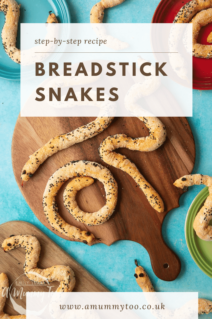 Bread snakes on a wooden board. Caption reads: step-by-step recipe breadstick snakes