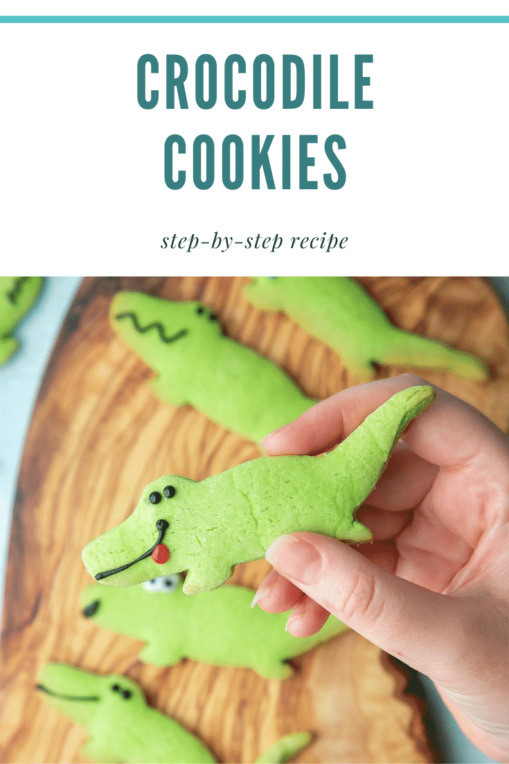 graphic text CROCODILE COOKIES step-by-step recipe above Overhead shot of a hand holding a Crocodile sugar cookie