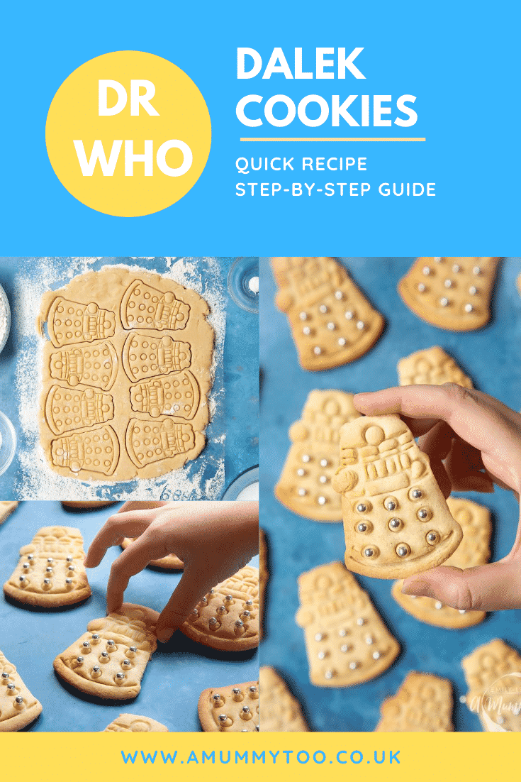 A collage of Dalek cookies decorated with silver candy balls. Caption reads: Dr Who Dalek cookies quick recipe step-by-step guide