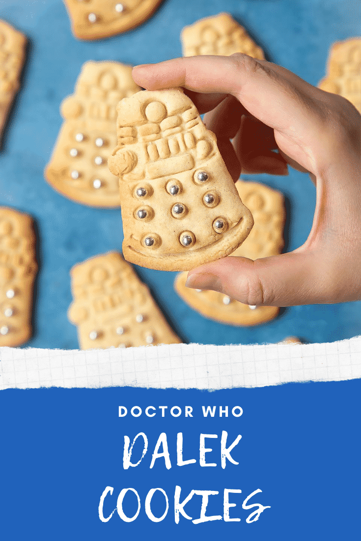 Dalek cookies decorated with silver candy balls. A hand holds one. Caption reads: Doctor Who Dalek cookies