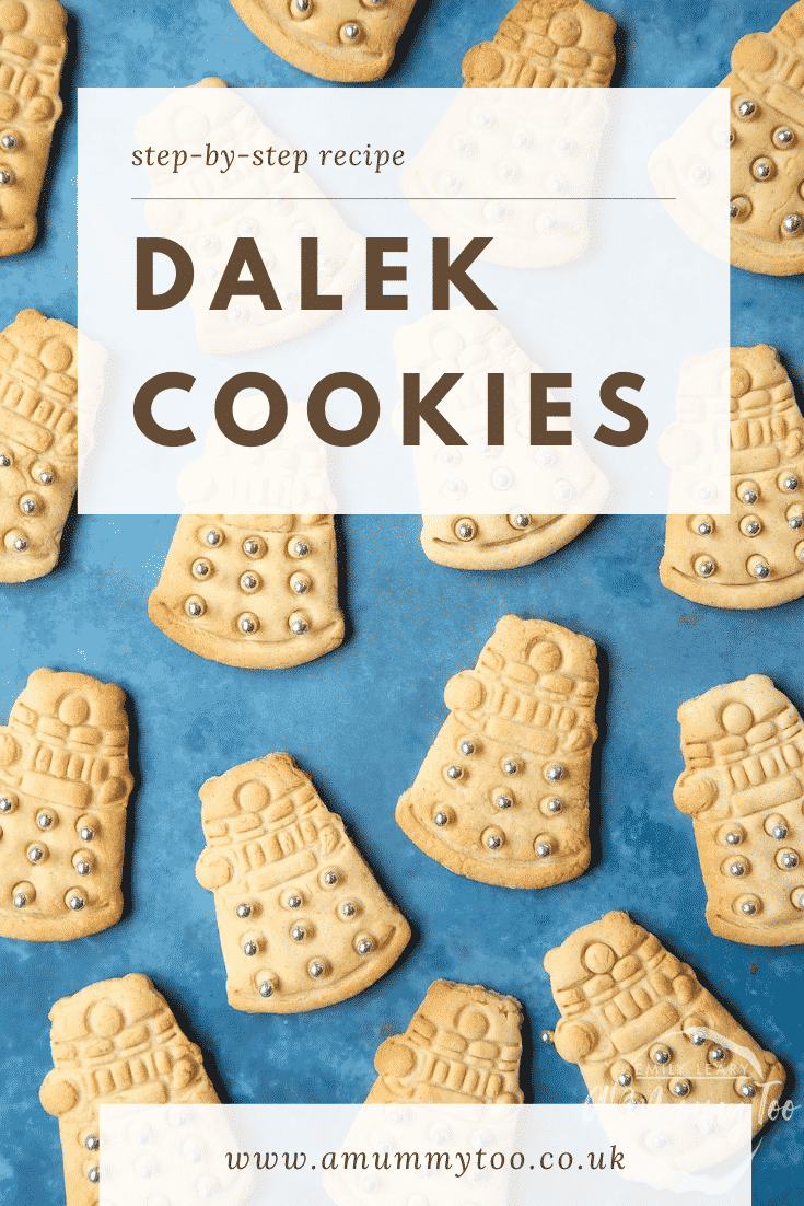 Dalek cookies decorated with silver candy balls on a blue background. Caption reads: step-by-step recipe Dalek cookies