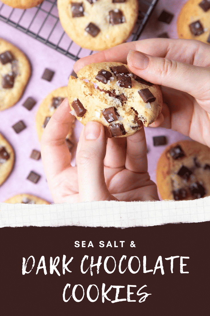 Overhead shot of a hand breaking a sea salt choco cookie above graphic text SEA SALT & DARK CHOC COOKIES