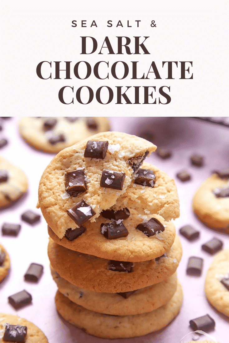 graphic text DARK CHOCOLATE COOKIES above Front angle shot of stacked chewy dark chocolate cookies