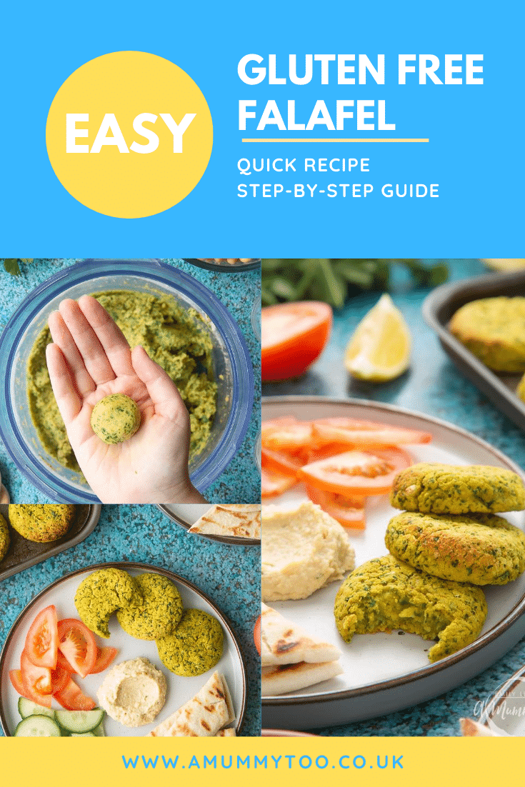 Collage of images of gluten-free falafel on a plate with tomatoes, cucumber, hummus and  griddled flatbread. Caption reads: easy gluten free falafel quick recipe step-by-step guide