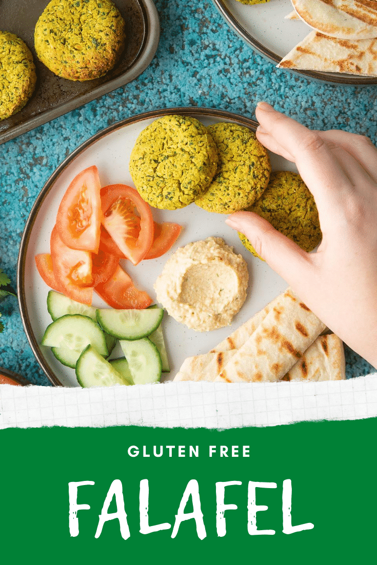 Gluten-free falafel on a plate with tomatoes, cucumber, hummus and  griddled flatbread. Caption reads: gluten free falafel