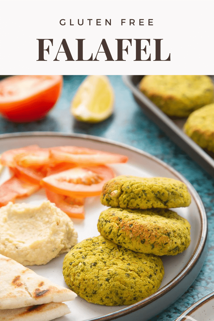 Gluten-free falafel arranged on a plate with tomatoes, cucumber, hummus and  griddled flatbread. Caption reads: gluten free falafel