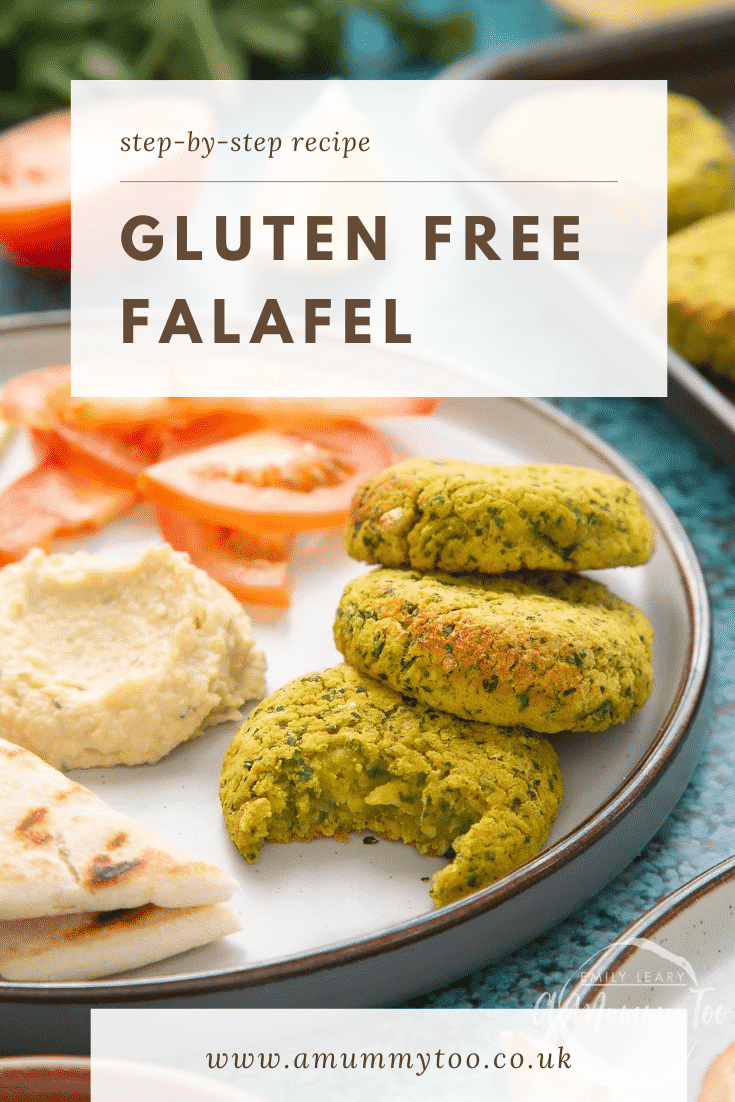 Gluten-free falafel on a plate with tomatoes, cucumber, hummus and  griddled flatbread. Caption reads: step-by-step recipe gluten free falafel