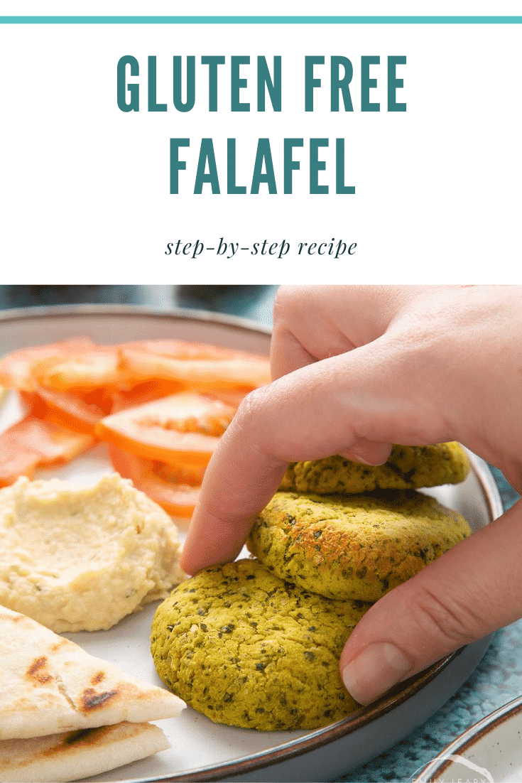 Gluten-free falafel on a plate with tomatoes, cucumber, hummus and  griddled flatbread. Caption reads: gluten free falafel step-by-step recipe