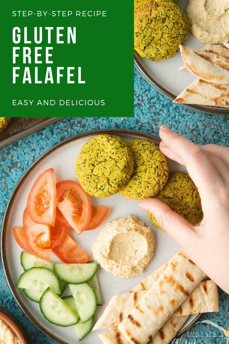 Gluten-free falafel on a plate with tomatoes, cucumber, hummus and  griddled flatbread. Caption reads: step-by-step recipe gluten free falafel easy and delicious