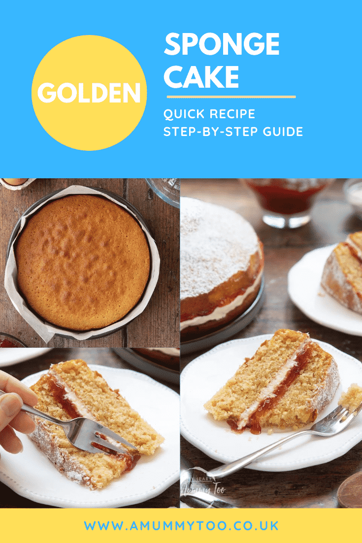 graphic text GOLDEN SPONGE CAKE QUICK RECIPE STEP-BY-STEP GUIDE above collage of three photos of sponge cake with website URL below