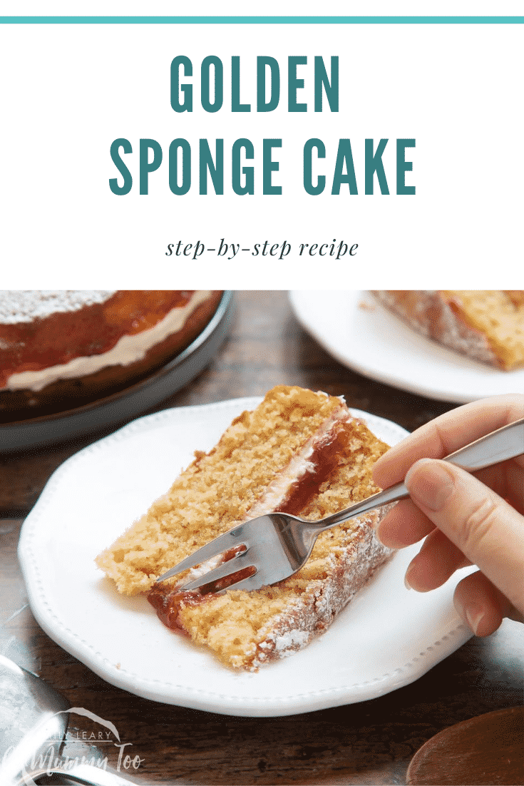 graphic text GOLDEN SPONGE CAKE step-by-step recipe above a golden sponge cake with a mummy too logo in the lower-left corner