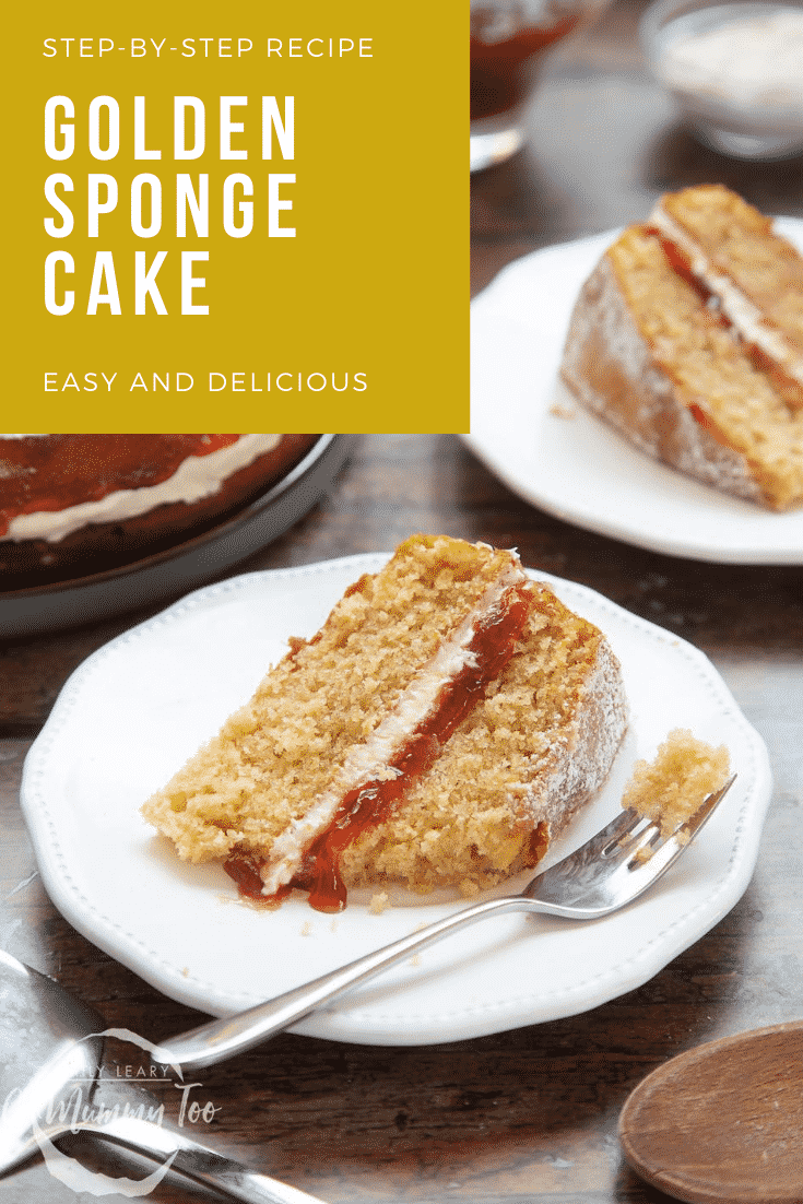 graphic text STEP-BY-STEP RECIPE GOLDEN SPONGE CAKE EASY AND DELICIOUS above Front angle shot of jammy golden sponge cake sandwich with a mummy too logo in the lower-left corner