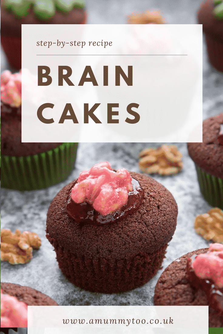 Gory Halloween cupcakes on a black background. The cupcakes are filled with jam and topped with pink candied walnuts that look like brains. Caption: Step-by-step recipe. Brain cakes.