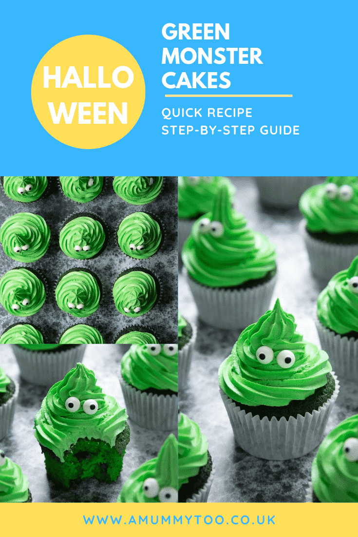 Collage showing green monster cakes made with dyed-green chocolate chip cupcakes topped with green peppermint frosting with added candy eyes. Caption reads: Halloween green monster cakes. Quick recipe. Step-by-step guide.