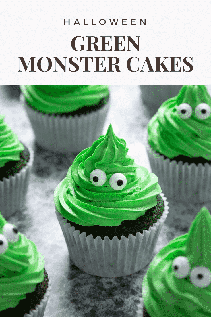 Green monster cakes made with dyed-green chocolate chip cupcakes topped with green peppermint frosting with added candy eyes. Caption reads: Halloween green monster cakes