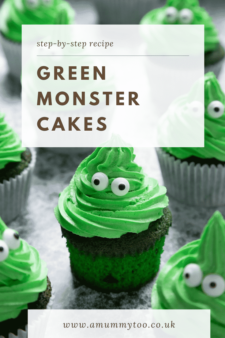 Green monster cakes made with dyed-green chocolate chip cupcakes topped with green peppermint frosting with added candy eyes. One is unwrapped. Caption reads: green step-by-step recipe green monster cakes