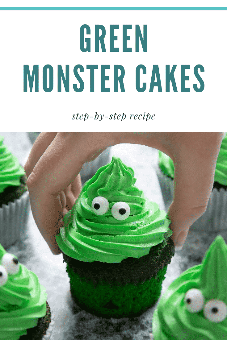 Green monster cakes made with dyed-green chocolate chip cupcakes topped with green peppermint frosting with added candy eyes. A hand reaches to take one. Caption reads: green monster cakes step-by-step recipe.