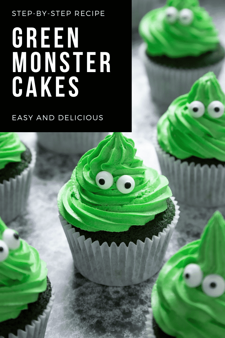 Green monster cakes made with dyed-green chocolate chip cupcakes topped with green peppermint frosting with added candy eyes. Caption reads: step-by-step recipe green monster cakes easy and delicious.