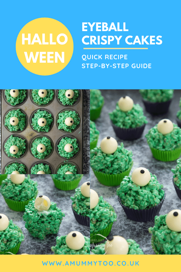 Collage of Halloween crispy cakes, dyed green and topped with white chocolate spheres decorated to look like eyeballs. Caption reads: Halloween eyeball crispy cakes. Quick recipe. Step-by-step guide.