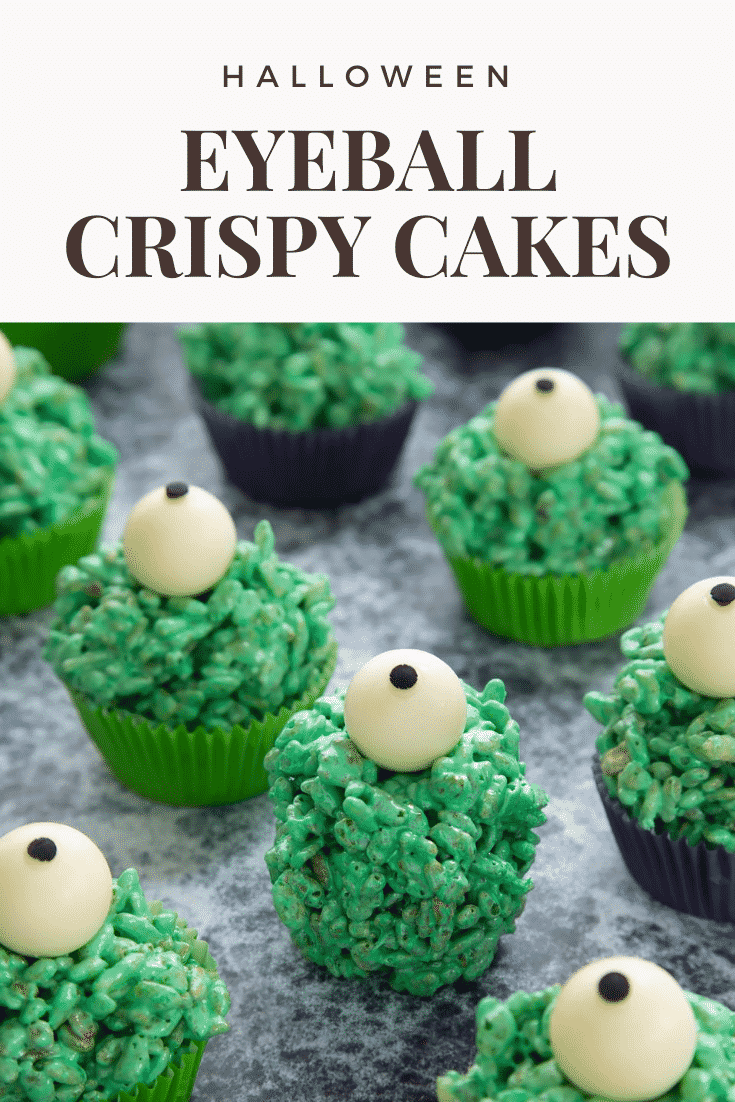 Halloween crispy cakes, dyed green and topped with white chocolate spheres decorated to look like eyeballs. One is unwrapped. Caption reads: Halloween eyeball crispy cakes