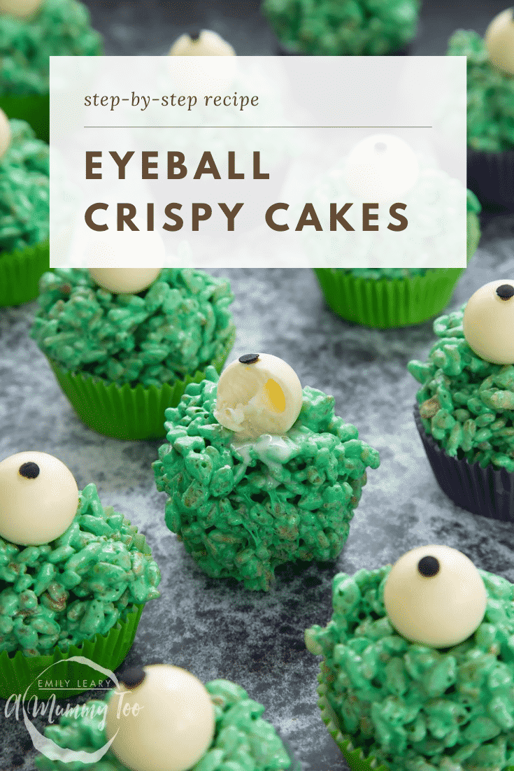 Halloween crispy cakes, dyed green and topped with white chocolate spheres decorated to look like eyeballs. One has been bitten. Caption reads: Step-by-step recipe eyeball crispy cakes