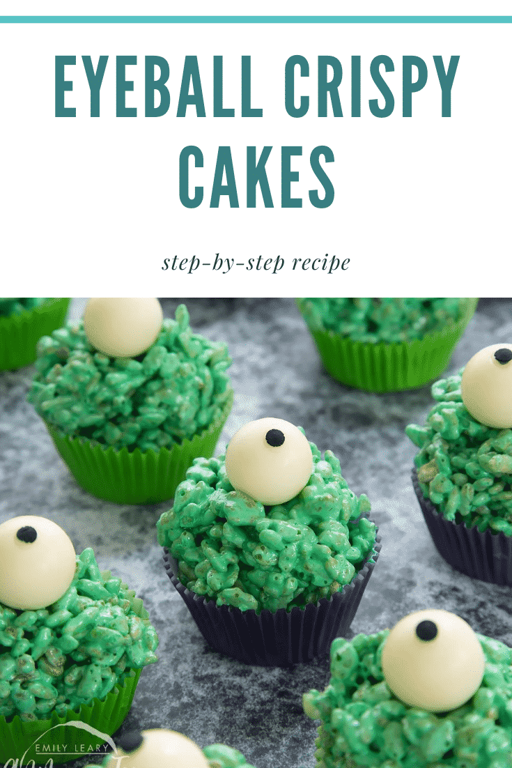 Halloween crispy cakes, dyed green and topped with white chocolate spheres decorated to look like eyeballs. Caption reads: Eyeball crispy cakes step-by-step recipe
