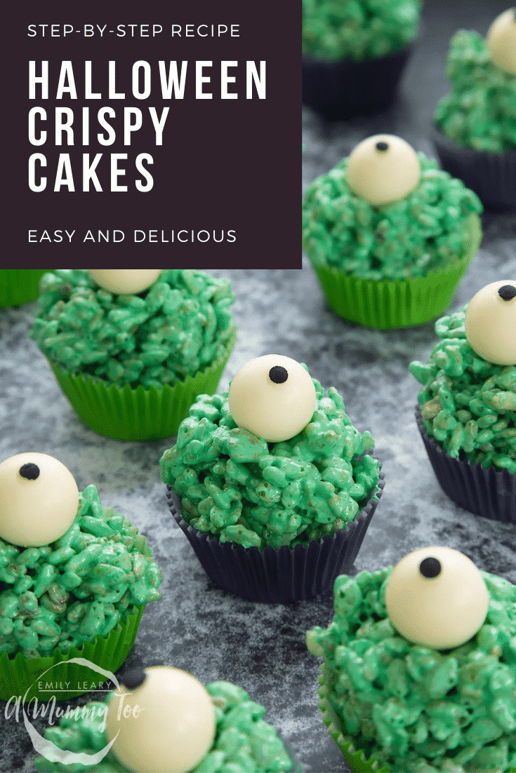 Halloween crispy cakes, dyed green and topped with white chocolate spheres decorated to look like eyeballs. Caption reads: Step-by-step recipe. Eyeball crispy cakes. Easy and delicious.
