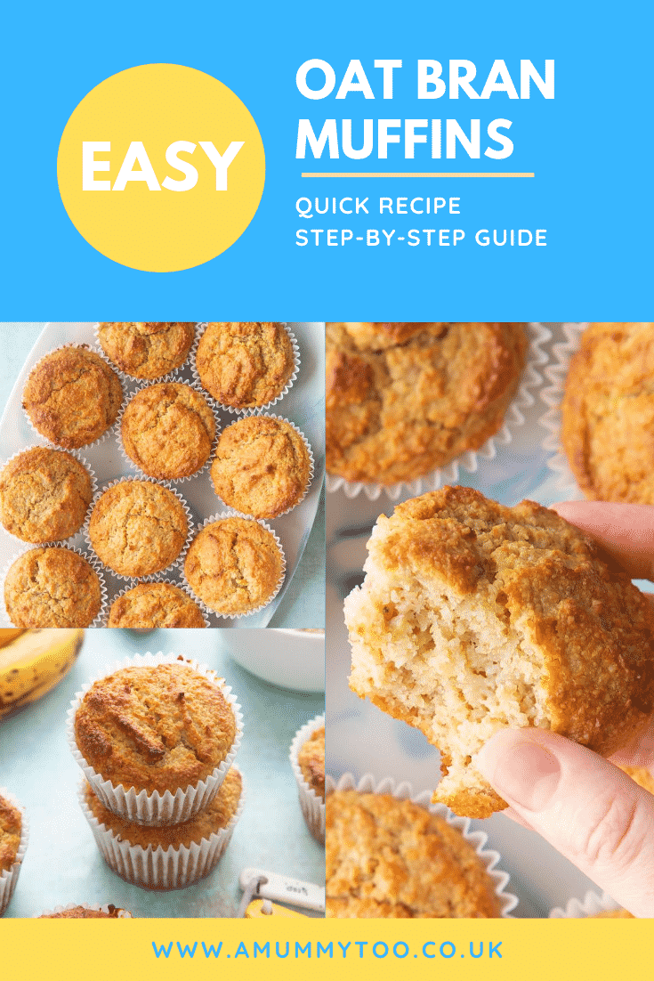 Graphic EASY OAT BRAN MUFFINS QUICK RECIPE STEP-BY-STEP GUIDE above collage of three photos of granola bran muffins with website URL below