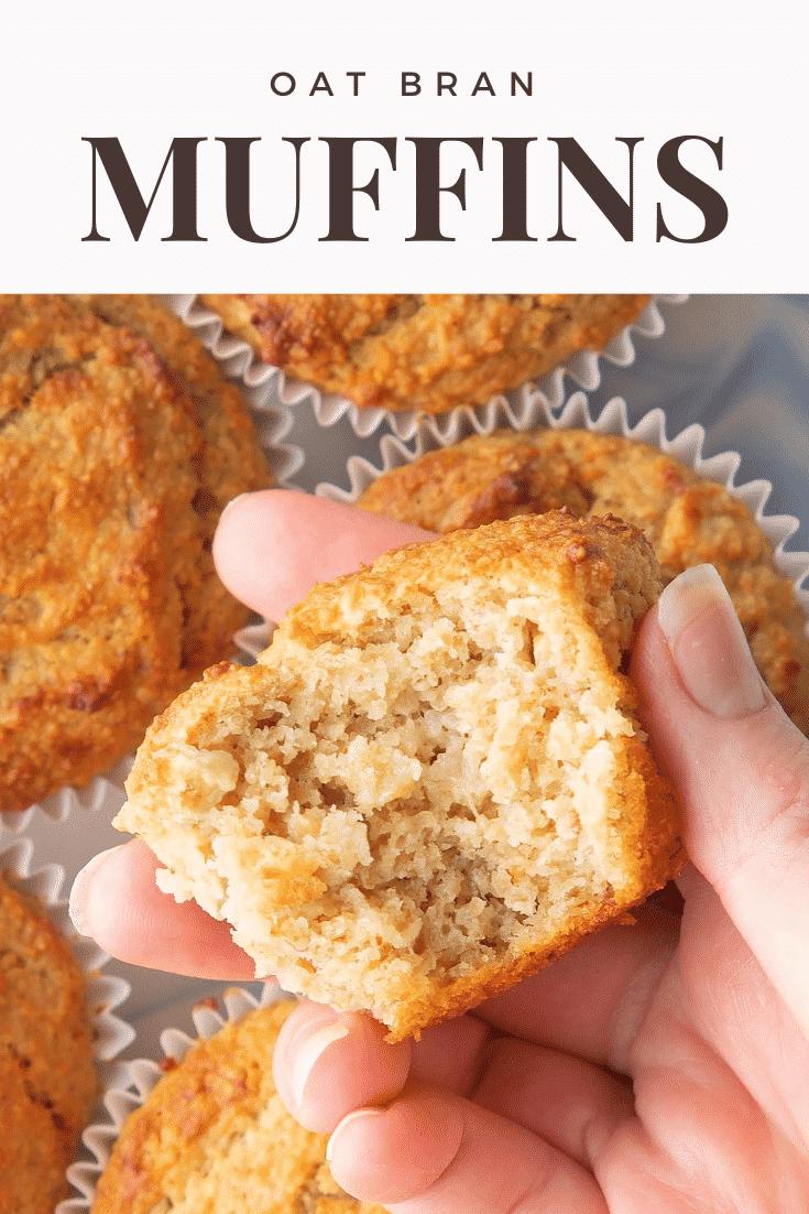 Graphic text OAT BRAN MUFFINS above overhead shot of half eaten breakfast oat muffin