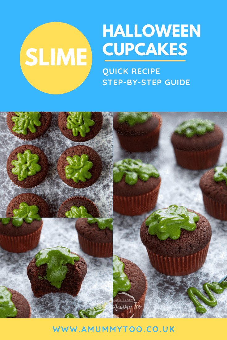 A collage of slime cupcakes on a black backdrop. The cakes have a chocolate sponge topped with dyed-green caramel. Caption reads: slime Halloween cupcakes quick recipe step-by-step guide