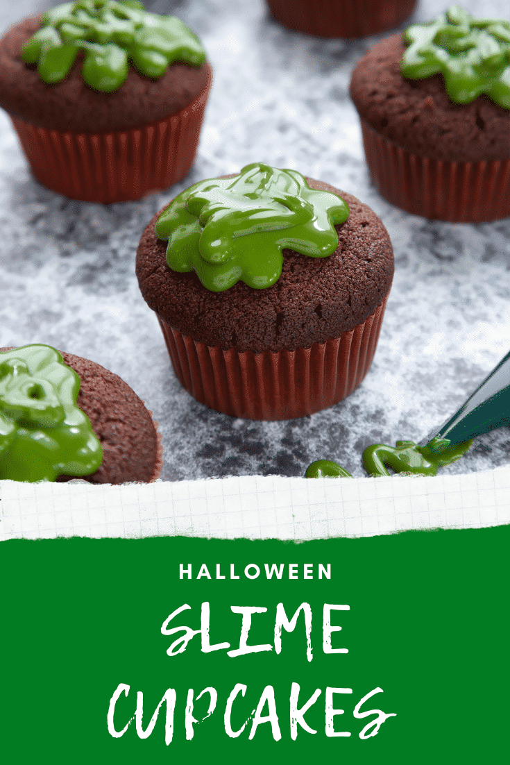 Slime cupcakes on a black backdrop. The cakes have a chocolate sponge topped with dyed-green caramel. Caption reads: Halloween slime cupcakes