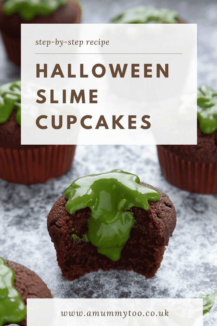 Slime cupcakes on a black backdrop. The cakes have a chocolate sponge topped with dyed-green caramel. One cake has been bitten into. Caption reads: step-by-step recipe Halloween slime cupcakes