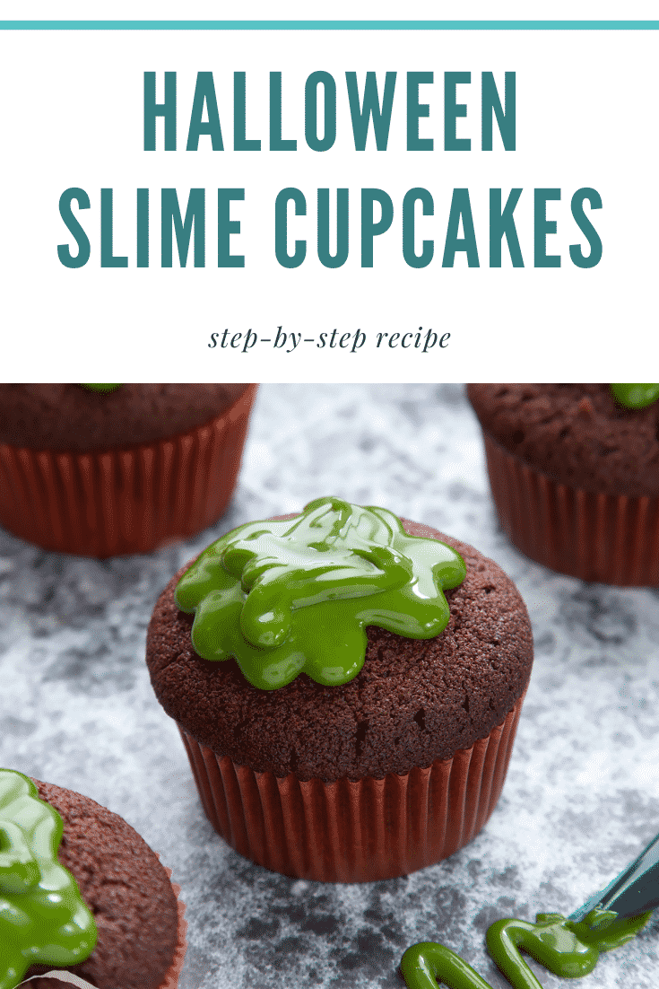 Slime cupcakes on a black backdrop. The cakes have a chocolate sponge topped with dyed-green caramel. Caption reads: Halloween slime cupcakes step-by-step recipe