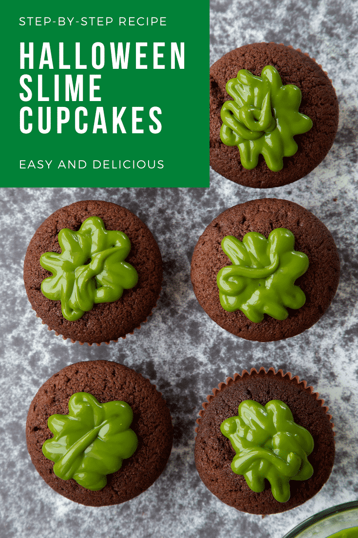 Six chocolate cupcakes shown from above. The cupcakes have been filled with dyed-green caramel. Caption reads: step-by-step recipe halloween slime cupcakes easy and delicious