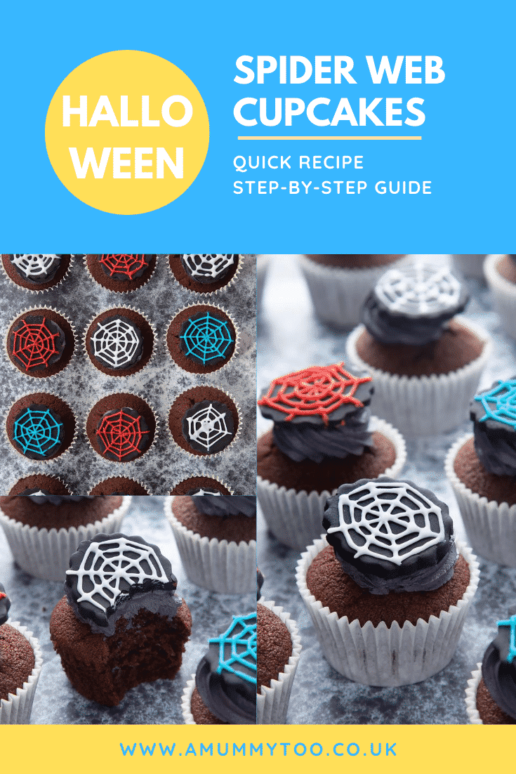 Collage of images showing spider web cupcakes arranged on a black surface. Caption reads: Halloween spider web cupcakes. Quick recipe. Step-by-step guide.
