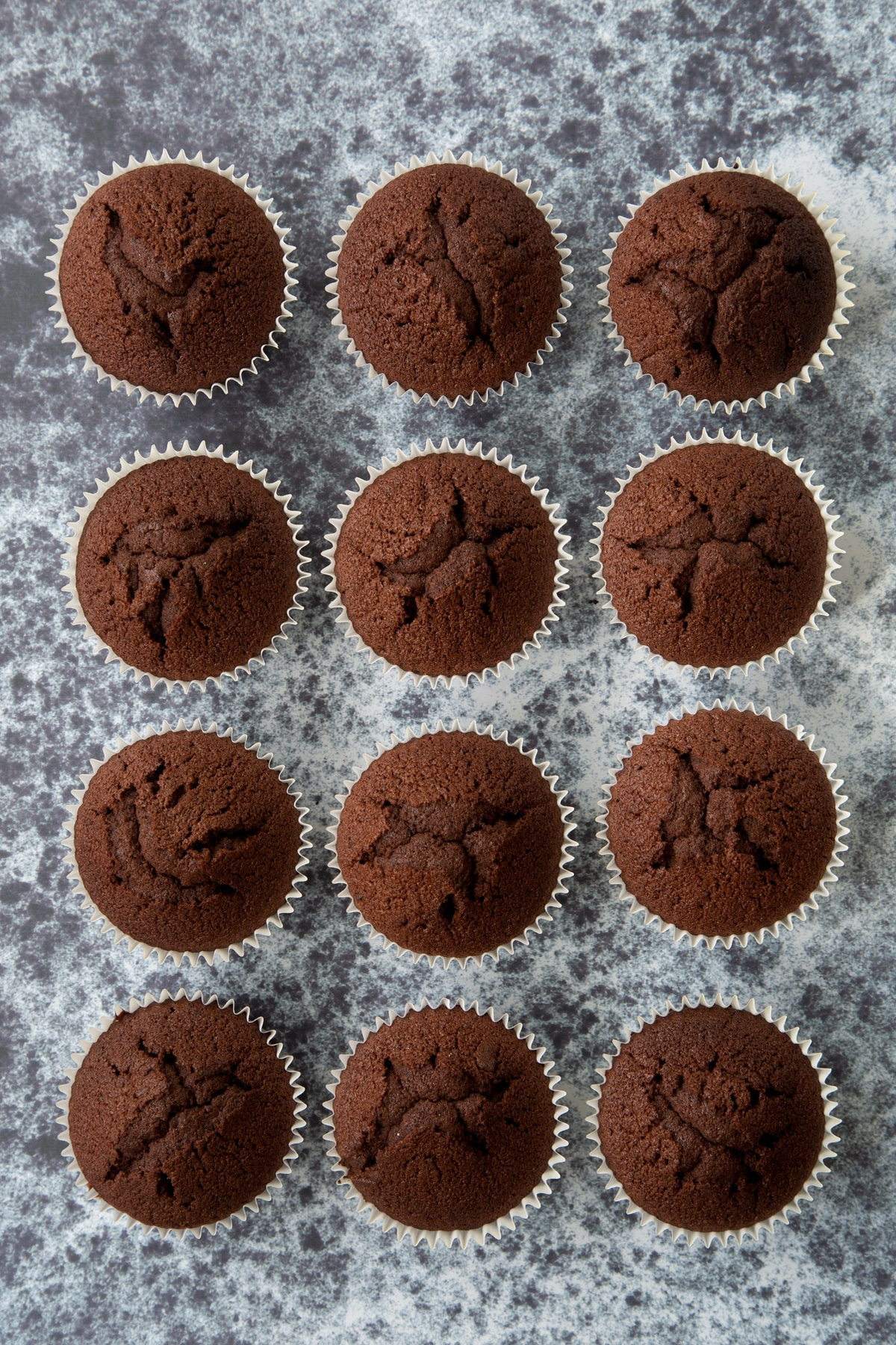 12 chocolate cupcakes on a dark background, shown from above.