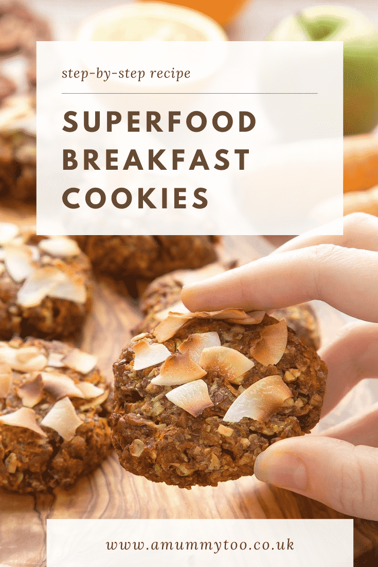 graphic text SUPERFOOD BREAKFAST COOKIES above Overhead shot of a hand holding a breakfast cookie