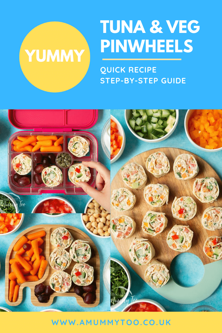 Collage of images of tuna pinwheels in a lunchbox or on a board with fresh fruit and veg. Caption reads: Yummy tuna & veg pinwheels. Quick recipe. Step-by-step guide.
