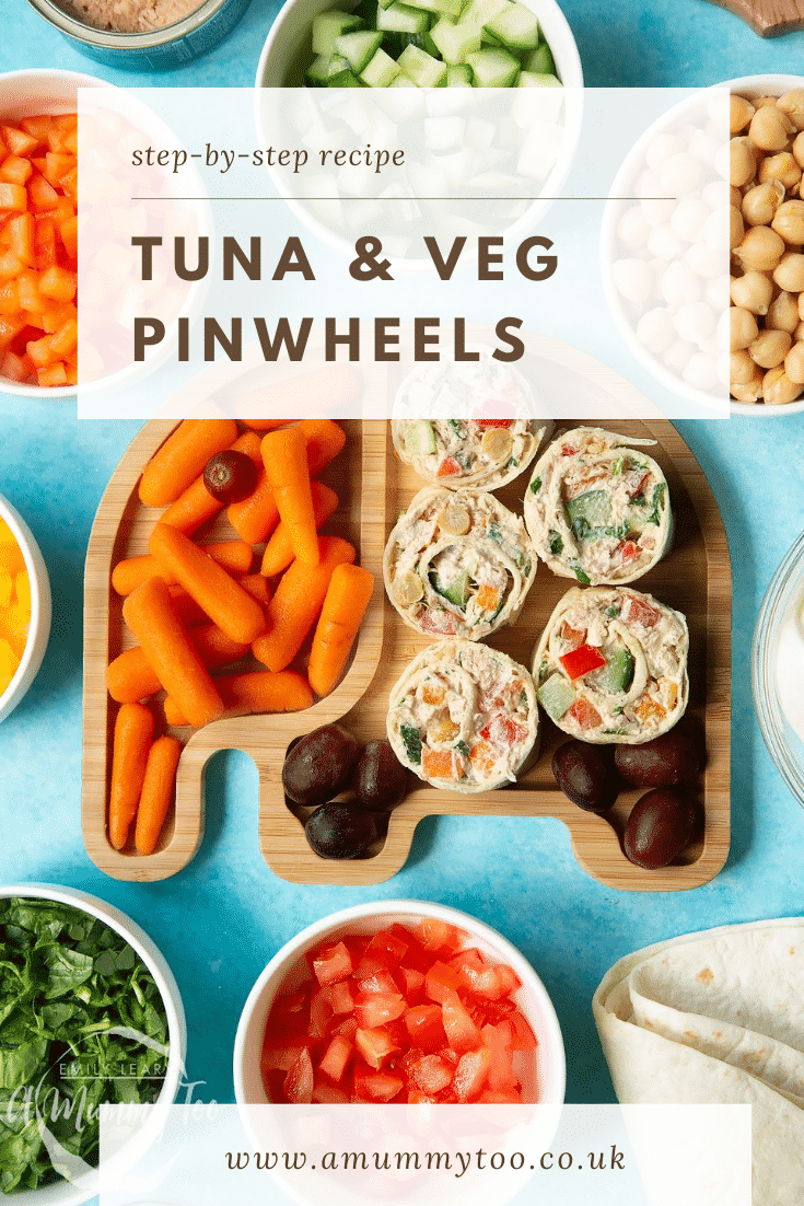 Tuna pinwheels on a bamboo plate with fresh fruit and veg. Caption reads: step-by-step recipe tuna & veg pinwheels