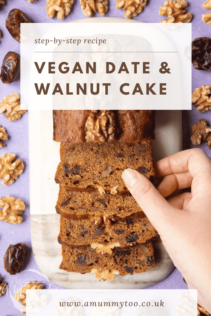 graphic text step-by-step recipe VEGAN DATE & WALNUT CAKE above Overhead shot of a hand touching a date and walnut bread slice with website URL below