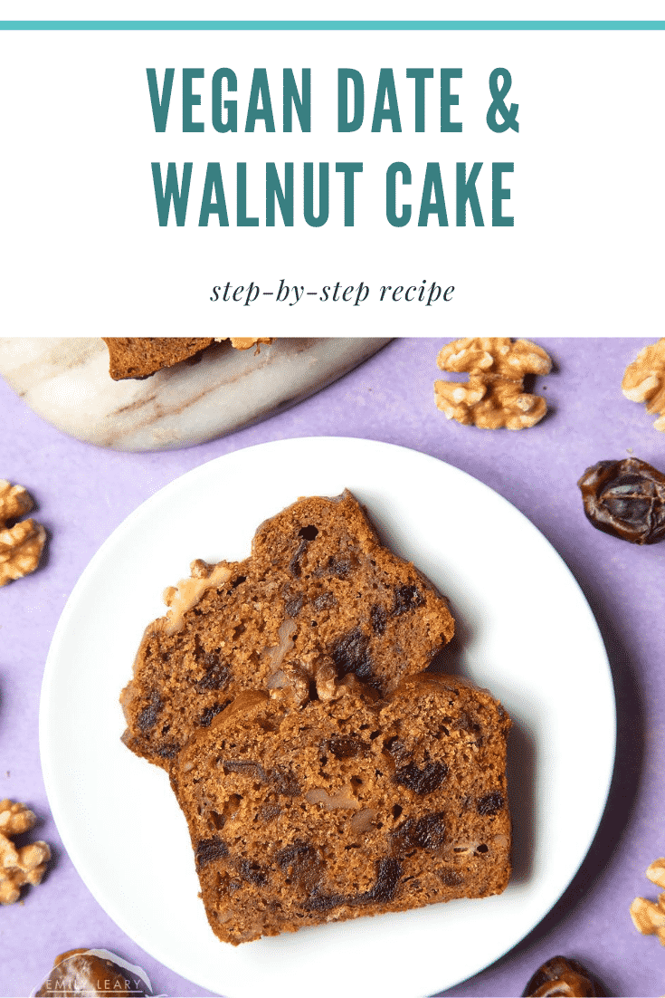 graphic text VEGAN DATE & WALNUT CAKE step-by-step recipe above Overhead shot of date and walnut bread slices