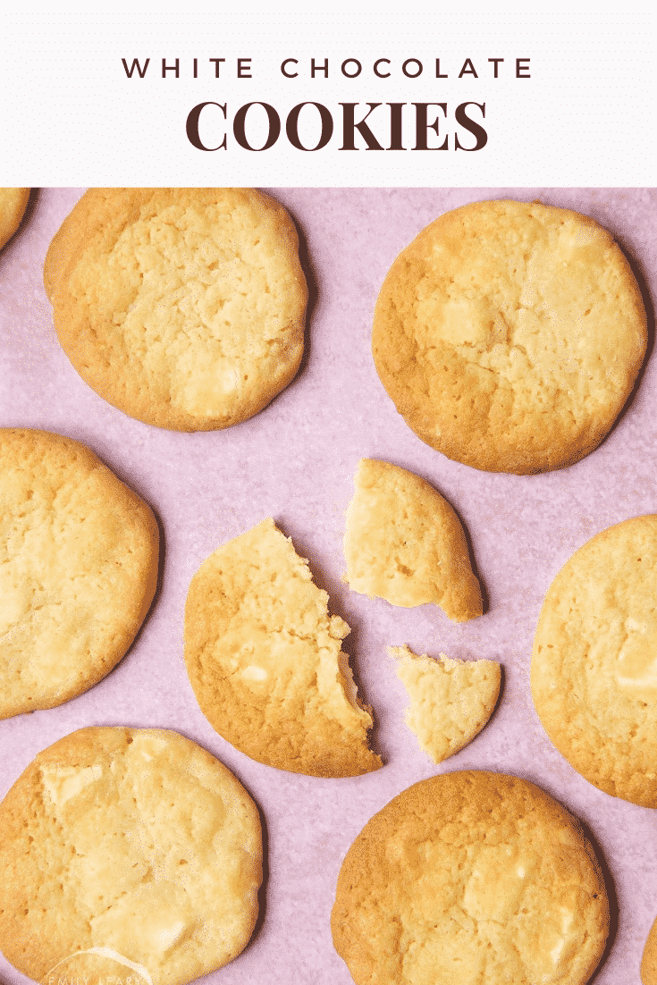 graphic text WHITE CHOCOLATE COOKIES above overhead shot of a chewy White chocolate cookie pieces