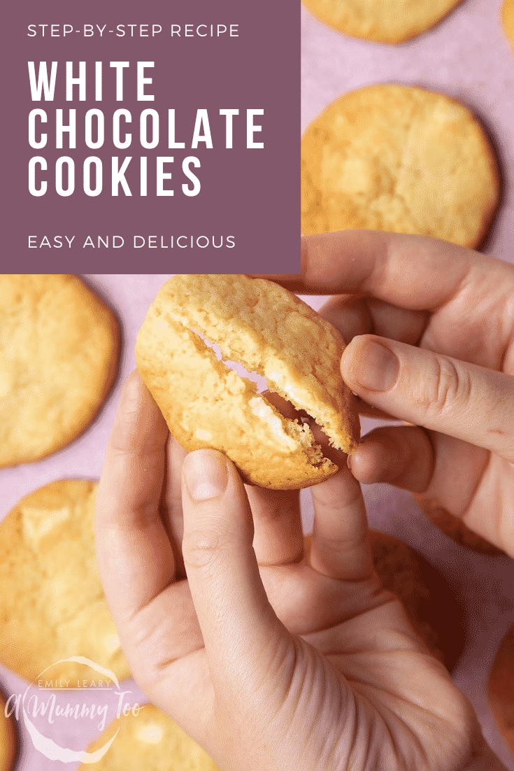 graphic text WHITE CHOCOLATE COOKIES above overhead shot of a chewy White chocolate cookie being broken in two.